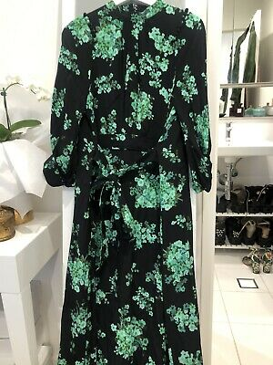 AU300 • Buy Scanlan Theodore Pure Silk Black Green Floral Fully Lined Dress Size 10