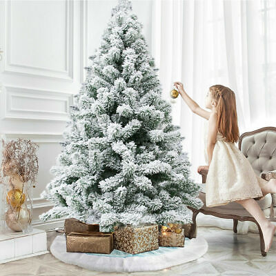 5/6/7Ft Snow White Flocking Christmas Popup Tree Artificial Festive Indoor Decor • 40.69£