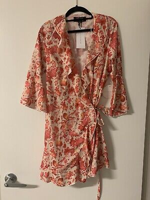 AU26 • Buy Womens Asos Picnic Wrap Frill Dress Pink Size 12 Brand New With Tags Rrp$89.99