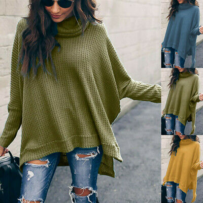 UK Winter Women Baggy Knitted Oversized Sweater Jumper Long Pullover Tops Plus • 12.99£