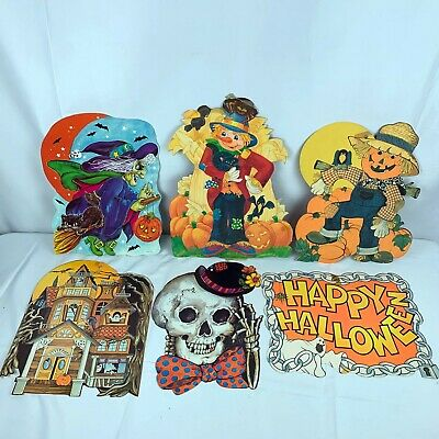 $ CDN22.43 • Buy Vintage Halloween Paper Ephemera 6 Piece Lot Scarecrow Pumpkin Witch Cat Skull