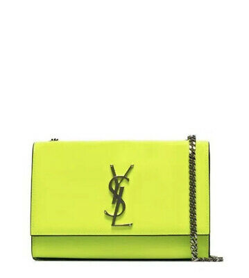 AU3700 • Buy VERY RARE!!!!! PATENT YSL Saint Laurent Neon Lime Kate Bag- WITH RECIEPT