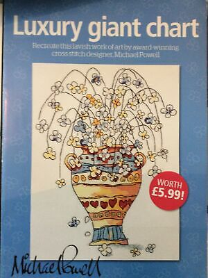 Michael Powell Giant Floral Vase Design Cross Stitch Chart Only /b • 1.99£