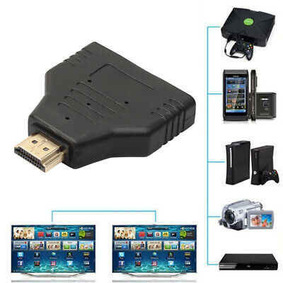 1080P Male To 2 Female 1 In 2 Out HDMI Splitter Cable Adapter Converter HDTV UK • 3.89£