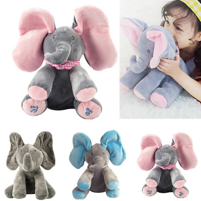 Peek-a-boo Music Elephant Baby Plush Toy Stuffed Doll Animated Singing Baby Gift • 10.99£