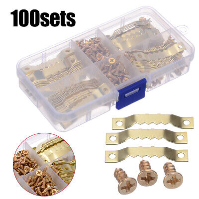 100Pcs Picture Saw Tooth Hanger Brassed Canvas Frame Screw Hook Hanging Listing` • 5.19£