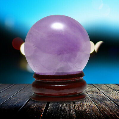 30mm Natural Amethyst Quartz Crystal Sphere Ball Healing Gemstone + Stand Base • 7.04£