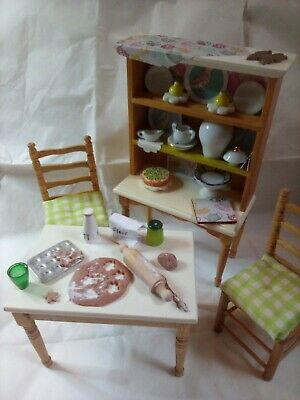 Dolls House Kitchen Dressed Baking Table, 2 Chairs And Dresser Set Ooak 1/12th • 20£