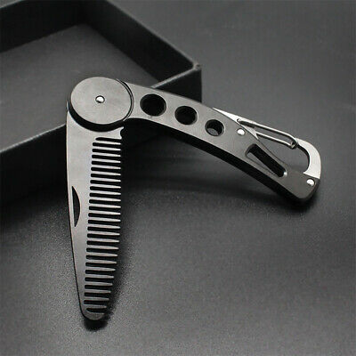 Stainless Steel Mustache Styling Durable Hair Grooming Folding Men Beard Comb • 7.33£