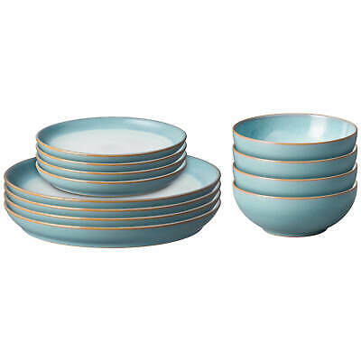 £201.60 • Buy Denby Azure Haze 12 Piece Coupe Tableware Set - Made From Strong Derbyshire Clay