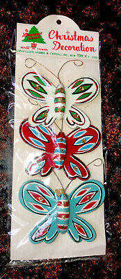 $ CDN17.09 • Buy Vintage 3 Clip On Butterflies Christmas Ornaments By Langcraft Creation Old New