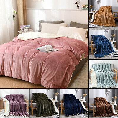 Winter Warm Soft Fleece Blanket Cozy Sofa Couch Throw Bed Sheet Solid Colors • 11.49£