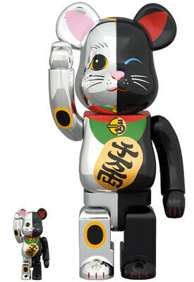 $298 • Buy Medicom Toy BE@RBRICK Bearbrick  Manekineko Lucky Cat Silver X Black 400% 100%