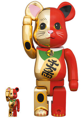 $349 • Buy Medicom Toy  BE@RBRICK Bearbrick  Manekineko Lucky Cat Gold X Red 400% 100%
