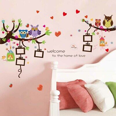 Owl Printing PVC Bedroom Self  Festival Kids Wedding Gift Wall Sticker • 9.72£