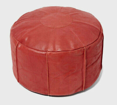 GENUINE LEATHER Filled Pouffe / Footstool / Beanbag *Great Gift!* Moroccan Style • 29.99£