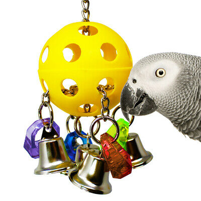 Colourful Parrot Cage Sound Hanging Bellpull Bird Toy Home Decor Teeth Chew • 9.19£