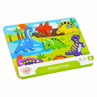 £9.23 • Buy 3D Wooden Dinosaur Chunky Puzzle Jigsaw Shape Sorter Educational Childs Toy Game