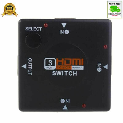 HDMI 3 Way Port Switch Splitter 1080p💥INPUT1 OUTPUT For PS3 PS4 Xbox 360 Sky HD • 5.97£