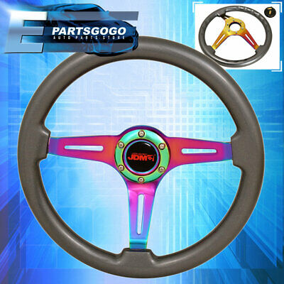 $ CDN122.51 • Buy Universal 6 Bolt 345mm Steering Wheel Streak Neo Chrome Center Gunmetal Wood