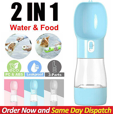 AU12.79 • Buy 2 In1 Puppy Dog Cat Pet Water Bottle Cup Drinking Travel Outdoor Portable Feeder