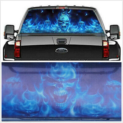 $20.29 • Buy Car Flaming Skull Rear Window Decoration Tint Graphic Decal Wrap Back 147x46cm