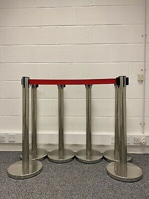 6 X Quality Chrome Retractable Crowd Control Barrier Posts Visible Red Cords • 49.95£