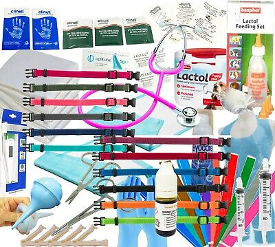 £42.99 • Buy Whelping Kit For Puppies Aspirator Forceps Cord Clamps Puppy ID Collars Iodine