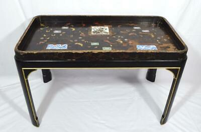 Antique Japanese Tea Tray Lacquer Table With Tile Inserts/Stand 19thC Rare • 349.99£