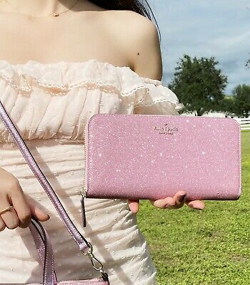 $ CDN138.67 • Buy Kate Spade Lola Joeley Large Continental Zip Wallet Rose Pink Glitter