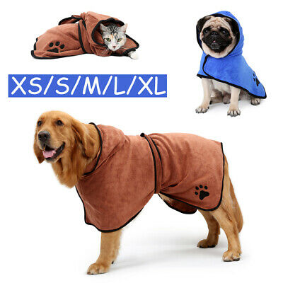 Hooded Pet Bath Robe Bathrobe Dog Cat Fast Dry Quickly Absorbing Water Towel • 12.89£