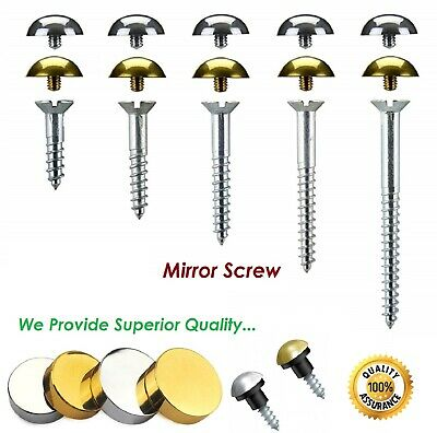 £2.30 • Buy Mirror Screws - Choice Of Discs Or Dome Caps - Brass, Chrome Or Satin Finish