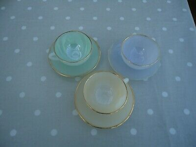 Arcopal France Harlequin Pastel Opalescent Cups And Saucers X 3 • 25£