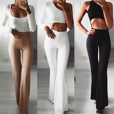 AU17.57 • Buy Women Solid High Waist Flare Wide Leg Chic Trousers Bell Bottom Yoga Pants H;ARS