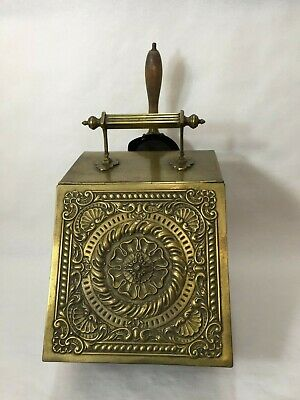 Antique Victorian Heavy Brass Embossed Lid Coal Scuttle Bucket Box With Shovel • 358.43£