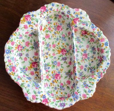 $ CDN125 • Buy Royal Winton Grimwades LARGE Old Cottage Chintz Divided Condiment Dish 1930-1934