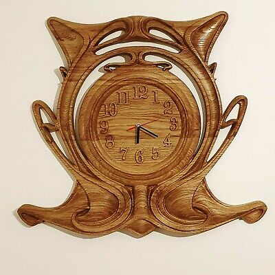 Wall Clock, Large Oak Carved, Solid Wood  • 290£