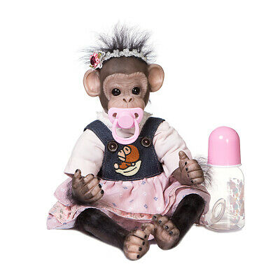 16  Reborn Baby Monkey Girl Doll Newborn Monkey Doll Cotton Body Xmas Gifts • 55£