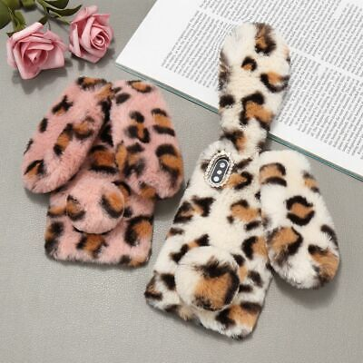 Leopard Print Case Cute Bunny Ears Silicone Back Cover For IPhone 12 SE 11 XR XS • 2.89£