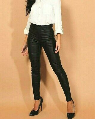 Skinny High Waisted Jeans Coated Jeggings  Womens Stretchy Leather Look Pants • 9.99£