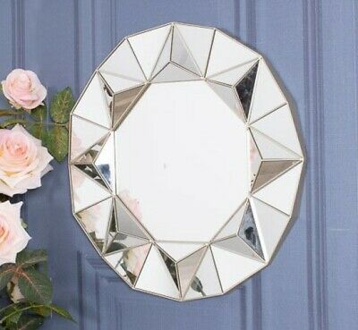 Silver Sunburst Ornate Wall Mirror Plastic Hanging Bedroom Home Chic Decor • 18.75£