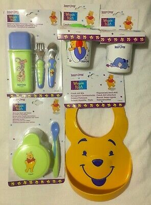 Winnie The Pooh Baby Bib Easy Grip Travel Cutlery 2 Leakproof Beakers Bowl Spoon • 22.49£