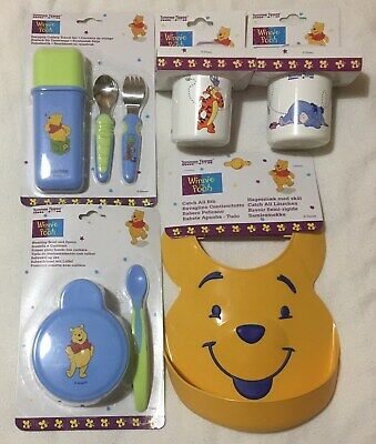 Winnie The Pooh Baby Easy Grip Travel Cutlery 2 Leakproof Beakers Bowl Spoon Bib • 22.49£