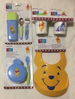 Baby Winnie The Pooh Easy Grip Travel Cutlery 2 Leakproof Beakers Bowl Spoon Bib • 22.49£