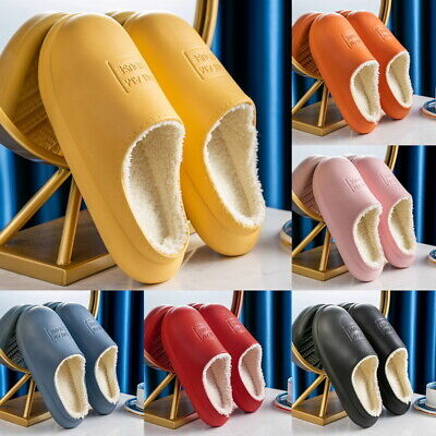 Waterproof Slippers Furry Lined Clogs Winter Garden Shoes Warm Fur House Mules • 9.99£