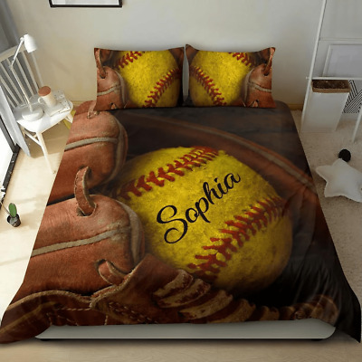 Softball Lovers Custom Personalized Name Duvet Cover Bedding Sets Gifts • 54.09£