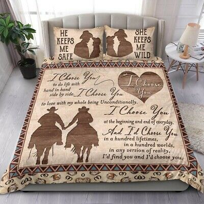 Love Couple Ride A Horse Custom Personalized Duvet Cover Bedding Sets Gifts • 54.09£