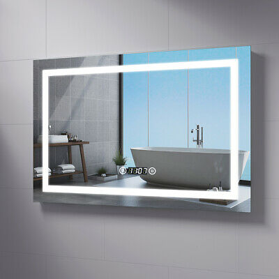 LED Bathroom Mirror Lights Illuminated With Shaver Socket Demister Clock Touch • 103.99£