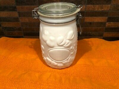 $13.99 • Buy Vintage Wheaton White Milk Glass Canister Embossed Fruit 1l
