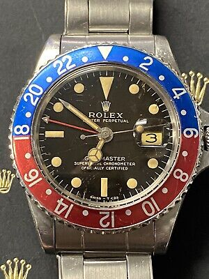 $ CDN26068.01 • Buy 1966 ♛ Rolex ♛ Gmt-master 1675 Pepsi Gilt Dial Unpolished Box & Open Papers